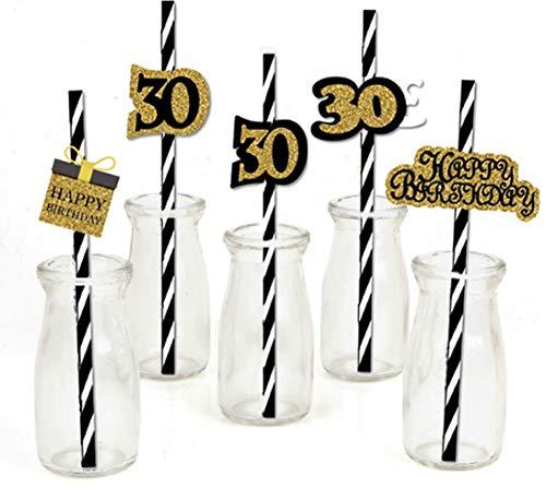 Dusenly Papierstrohhalme zum 30. Geburtstag, Schwarz / Gold, gestreift, dekorativ, 36 Stück