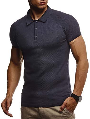 Leif Nelson Herren Sommer T-Shirt Poloshirt Slim Fit aus Feinstrick Cooles Basic Männer Polo-Shirt Crew Neck Jungen Kurzarmshirt Polo Shirt Sweater Kurzarm LN7310 D. Blau Medium