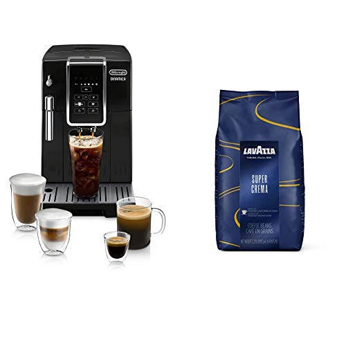 De'Longhi ECAM35020B Dinamica Automatic Coffee & Espresso Machine TrueBrew (Iced-Coffee), Black & Lavazza Super Crema Whole Bean Coffee Blend, Medium Espresso Roast, 2.2 Pound (Pack of 1)