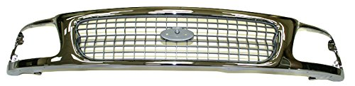 Grille Grill Chrome & Silver Front End for 97-98 Ford Expedition F150 F250