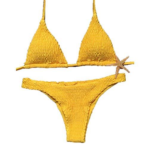Briskorry Damen Bandage Push-up gepolsterter BH Bikini Set Badeanzug Bademode Beachwear