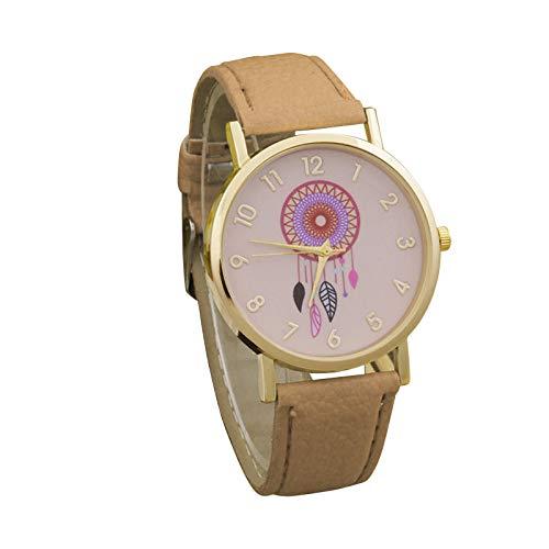 HEling Reloj de cuarzo para mujer, correa de piel minimalista, números arábigos, reloj de cuarzo informal, correa de reloj ajustable, esfera redonda, regalo para vestido, caqui, talla única,