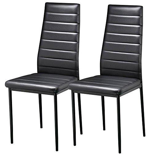 Yaheetech Esszimmerstühle 2er Set Küchenstuhl Wohnzimmerstuhl Sitzgruppe Hochlehner Kunstleder