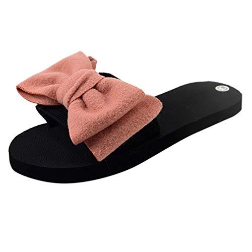 Fannyfuny Damen Flache Schlappen Frauen Bohemian Stil Badeschuhe mit Schleife Sommer rutschfest Beach Sandal Pantoffeln Freizeitschuhe Pantoletten Blau, Rot, Pink 36-40