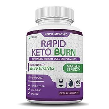 Rapid Keto Burn - Enriched with BHB Ketones - Maximum Strength - 30 Day Supply