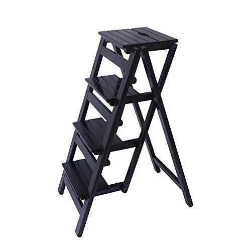 Escabeau 4-Couche Pliant Marchepied Ladder tabourets Banc Fleur étagère à Chaussures en Bois Adultes escabeau, Max 150 kg, Noir QIQIDEDIAN