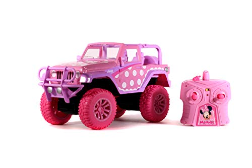 Jada Toys Disney Junior 1:16 Minnie Jeep Wrangler RC Remote Control Truck, 2.4 GHz Pink, Toys for Kids and Adults