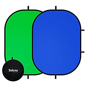 Selens Green Screen Backdrop 59x39.3inches Pop Up Collapsible Blue Backgrounds with Carrying Bag for YouTube Streaming Photo Studio Product Photography
