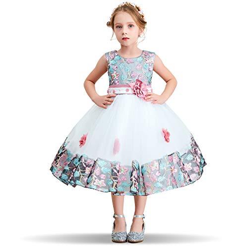 NNJXD Mädchen Tutu Blütenblätter Schleife Brautkleid für Kleinkind Mädchen, #1 Rosa, 3-4 Jahre/ Etikettgröße- 110