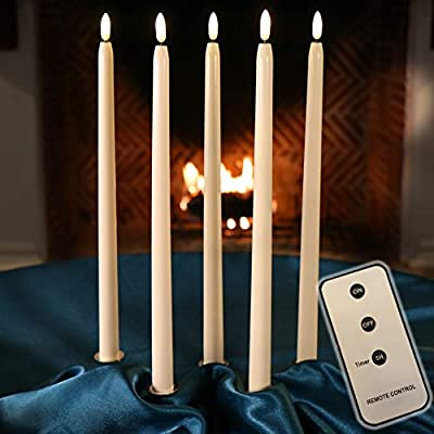 Set of Flameless Taper Candles with Remote and Batteries