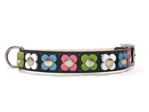Superpipapo Hunde-Halsband, Handmade Schwarz Leder für Kleine und Mittelgroße Hunde, Vintage Design Floral mit Bunt Pastel Farbige Blumen, 40 cm S: Halsumfang 30-35 cm, Breit 15mm