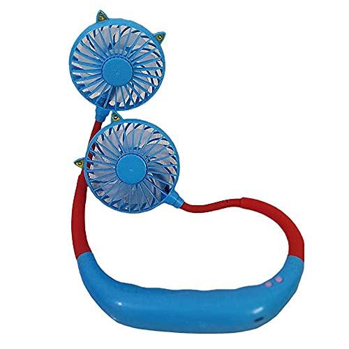 Ventilador portátil del cuello, manos libres Mini USB Fan recargable Ventilador personal portátil, ventilador de escritorio, escritorio Fan de la calificación con cabeza de viento dual 3 velocidades p