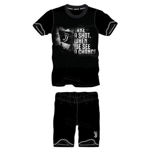 Pigiama Corto Maglia Manica Corta + Pantaloncini Juventus FC Prodotto Ufficiale Juve Uomo Adulto (Nero, XL)