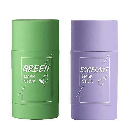 2PC Green Tea/Eggplant Purifying Clay Stick Mask, Green Tea Mask Stick, Deep Cleansing Mask, Control de Aceite Anti acné, Elimina eficazmente el acné, Purifica la piel, Mejora la sequedad de la piel