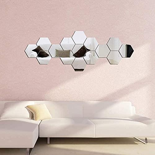 CYendy Espejo Hexagonal, 24 Adhesivos de Pared, (126 x 110 x 63 cm) Adhesivos de Pared, Adhesivos de Pared autoadhesivos para la decoración de la Sala de Estar y el Dormitorio Familiar