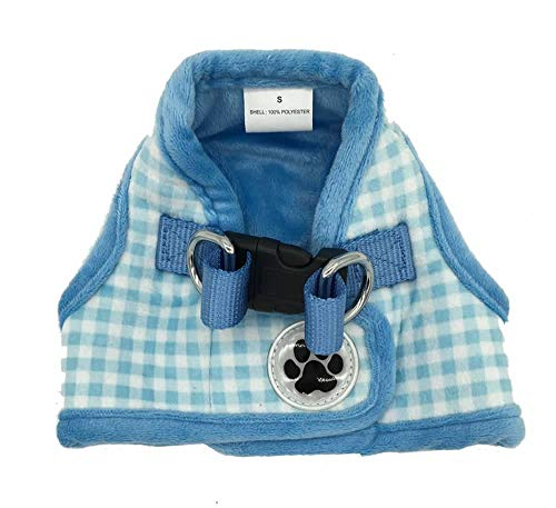 Lanyar Plaid Warm Fleece Pet Vest Harness Cat Harness for Small Dogs, Small Turquoise