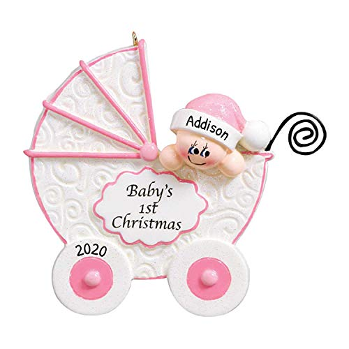Personalized Baby Buggy Christmas Tree Ornament 2020 - Cute Girl Sleep Vintage Stroller Baby's Carriage Glitter New Mom Shower Car God Holiday Grand-Daughter Tradition Nursery - Free Customization