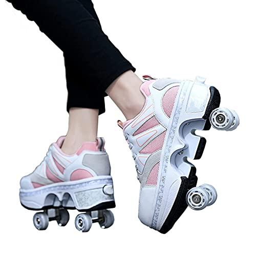 FLY FLQ Deformar los Zapatos con Ruedas deformación Caminar Patines Patines Cuatro Ruedas niños Patinaje sobre Ruedas Zapatos cómodos,41