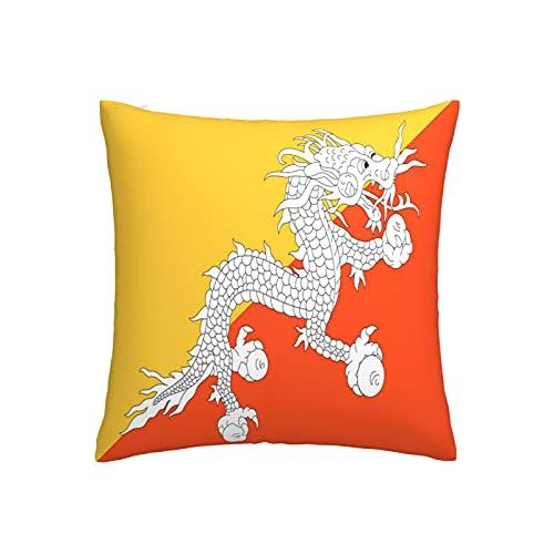 Kissenbezug mit Bhutan-Flagge, quadratisch, dekorativer Kissenbezug für Sofa, Couch, Zuhause, Schlafzimmer, Indoor Outdoor, niedlicher Kissenbezug 45,7 x 45,7 cm