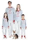 Sleepyheads Holiday Family Matching Winter Snowflake Grey Stripe Pajama PJ Sets, Grey, Men's XL