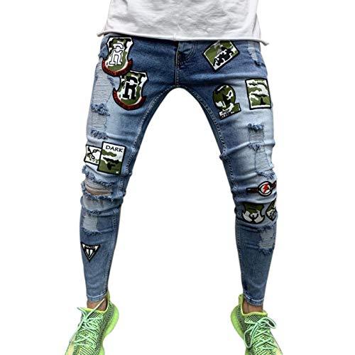 Vaqueros para Jeans Pantalones Pantalones Vaqueros Elásticos con Estampado De Motociclista Y Rasgados Y Rasgados para Hombre, con Agujeros Destruidos, con Cinta, Slim Fit, Vaquero
