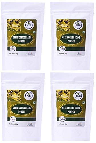 N2B A++ Grade Green Coffee Beans Powder – Reduce Body Fat   Weight Loss   Enhance Energy Control Diabetes And Cholesterol   200g (Pack of 4)