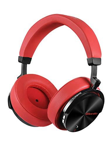 Bluedio T5S Auriculares Bluetooth inalámbricos On-Ear, Inteligente estéreo portátiles, con micrófono para teléfonos y música (Rojo)