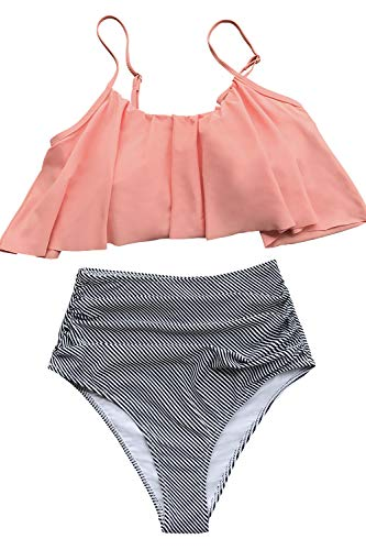 CUPSHE Damen Bikini Set Falbala Rüschen High Waist Bauchweg Bademode Zweiteiliger Badeanzug Rosa M