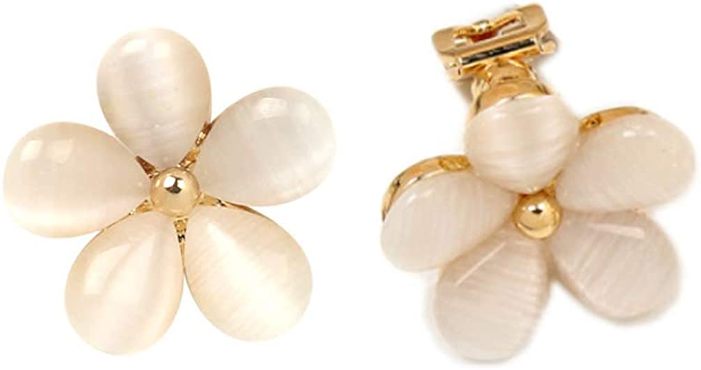 Flower Clip on Earrings non Pierced Soft Pads Created Opal Gold Plated for Women Five Leaf Charms