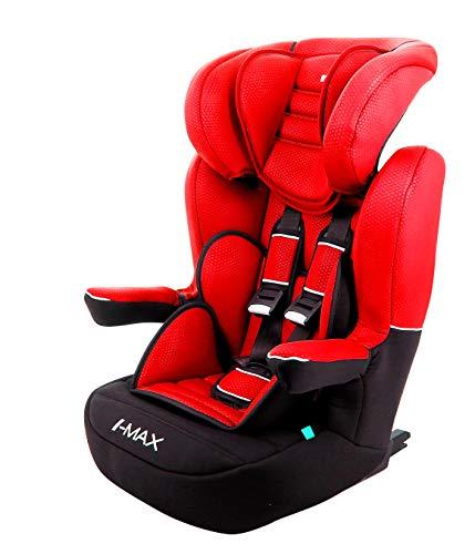 nania Siège Auto isofix IMAX Groupe 1/2/3 (9-36kg) avec Protection latérale et têtière réglable - Made in France Luxe Rouge
