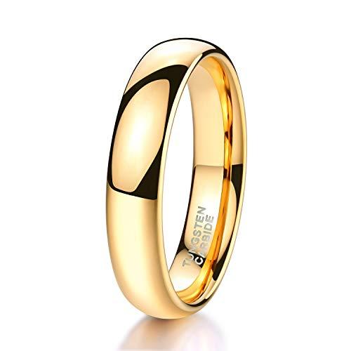 Zakk Ring Damen Herren 2mm 4mm 6mm Gelbgold Wolfram Poliert Schmal Ringe Verlobungsringe Ehering Hochzeitsband (4mm, 63 (20.1))
