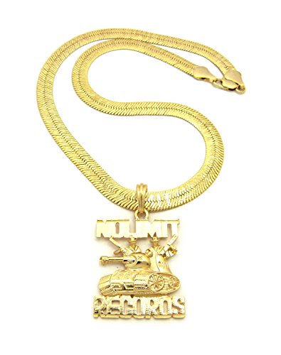 NEW NO LIMIT RECORDS PENDANT &9mm/24' HERRINGBONE CHAIN HIP HOP NECKLACE - RC1552G