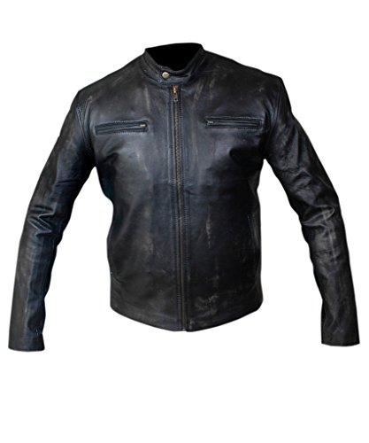 Flesh & Hide F&H Men's Mark Wahlberg Contraband Genuine Leather Distressed Jacket 2XL Black
