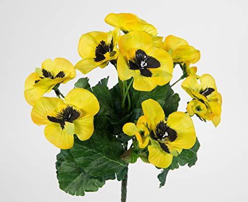 Seidenblumen Roß Künstliche Stiefmütterchen 26cm gelb PM Kunstpflanzen Pflanze Blumen Kunstblumen Veilchen