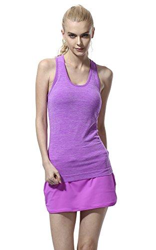 ジュナナ jnana スポーツウェア レディース 速乾 タンクトップ ヨガウェア フィットネスウェア 全8色 Tシャツ パープル L