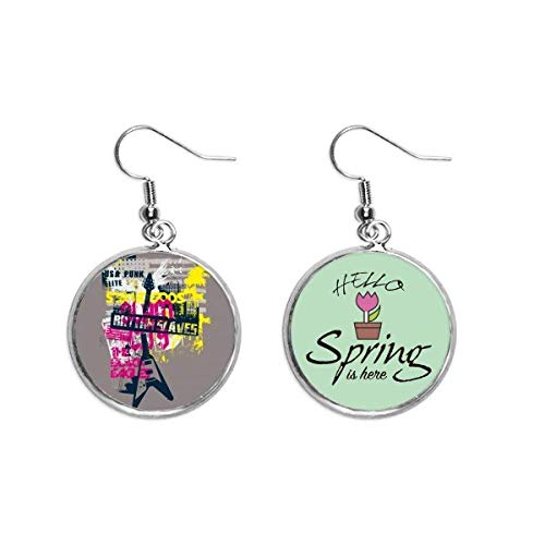 Graffiti Street Culture Colorful Guitar Pattern Decoration Dangle Season Spring Earring Jewelry
