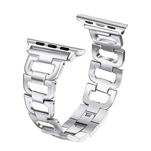 Secbolt Bling Band Compatible Apple Watch Band 42mm 44mm iWatch Series 5, Series 4, Series 3, Series 2, Series 1, Diamond Rhinestone Stainless Steel Metal Wristband Strap, Slim Silver