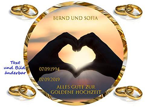 Tortenaufleger für Fototorte zur Hochzeit, Silberhochzeit, Goldene Hochzeit mit Ihrem Foto, Tortenbild Fondant Ø 20cm / 6013