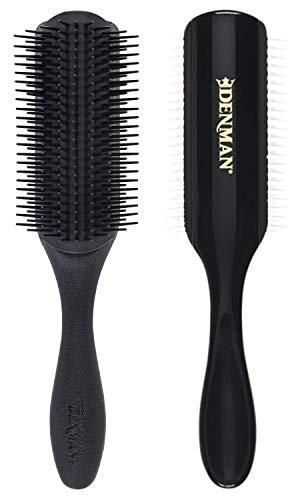 Denman Haarbürste D4M (Langhaarbürste), zum Stylen und Glätten langer Haare, antistatisches Gummikissen und Nylonborsten, 9-reihig, schwarz