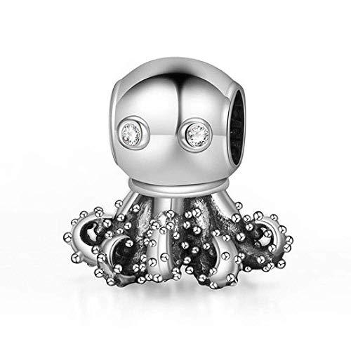 Anhänger 925 Sterling Silber Bead Octopus Anhänger Herren und Damen Universal Persönlichkeit Halskette Anhänger mit Schmuckschatulle Damen Wildschmuck, Thumby