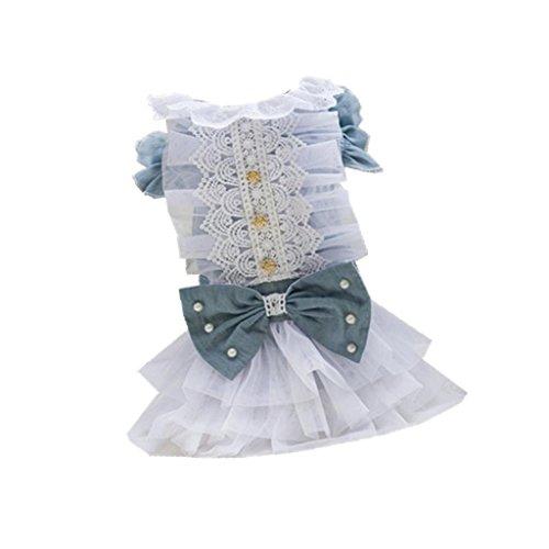 B Blesiya 1 Stü Hundespitze Hochzeitskleid Denim Stich Kleid Sommerkleid Bownot Prinzessin Rock - M
