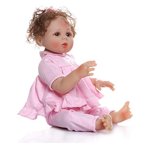 48cm Premie Baby Grootte Realistische Herboren Bebe Full Body Zachte Siliconen Knuffelige Baby Anatomisch Correct Bad Speelgoed In Roze Jurk