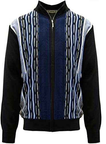 STACY ADAMS Men's Sweater, Modern Cable Knit Jacquard (4XL, Navy)