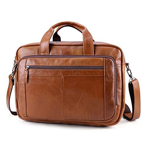 Laptop Briefcase Men's Business Messenger Tote Bag Mens Genuine Leather 15.6inch Laptop Bag Expandable Briefcase Portfolio Fashion Casual Crossbody Handbag Messenger Shoulder Bag Men Women Classic Com