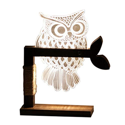 Billaew - Lámpara de escritorio LED con forma de búho, lámpara de mesa de noche, lámpara decorativa para dormitorio, salón, café