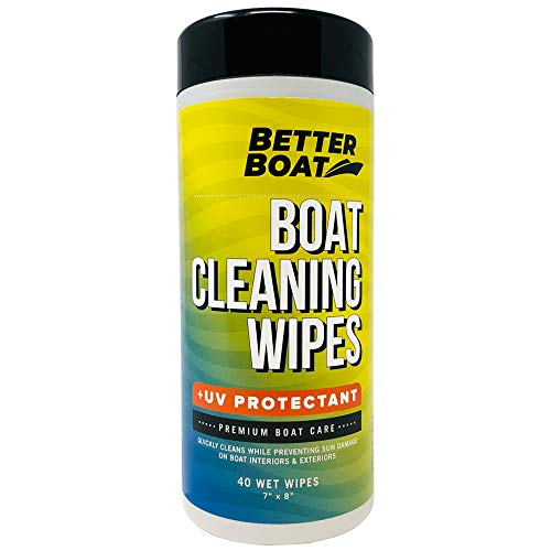 Better Boat Cleaner Wipes with UV Marine Boat Vinyl and Boat Seat Cleaner and Protectant 40 Wipes