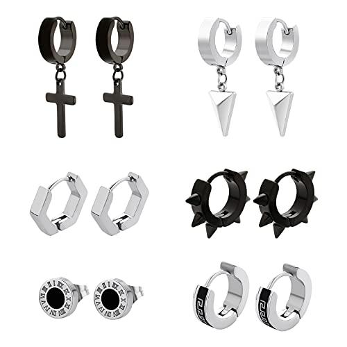 KRKC & CO - Juego de 6 pares de pendientes de acero inoxidable para hombre, color negro y plateado, cruz de circonita, juego de pendientes para hombres y mujeres