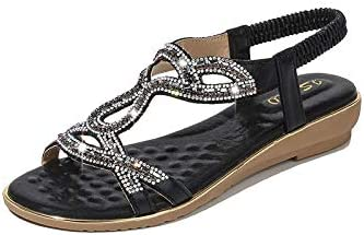 ZAIXO Open-Toed Wedge Shoes Women Sandals New Flat Fashion Rhinestone Summer Sandals Women Shoes Solid Color Casual Summer Shoes Woman Women Sandals (Color : Black, Shoe Size : 7)