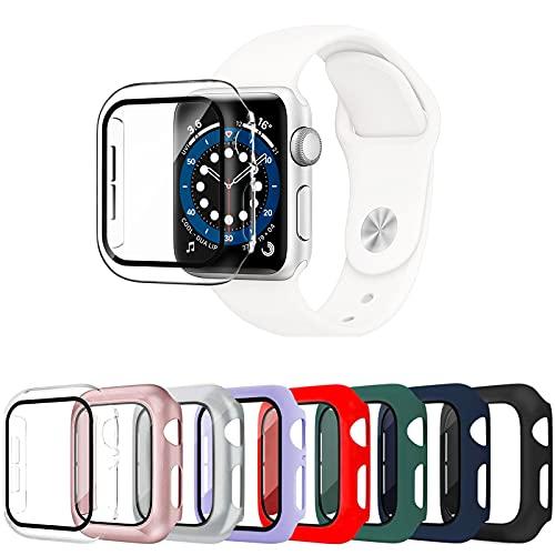 Surundo 8 Pezzi Apple Watch Cover 38mm Series 3/2/1 con protezione per schermo in vetro temperato, paraurti antiurto per PC ultra sottile e resistente ai graffi per uomo donna Accessori iWatch