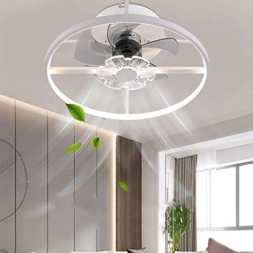 Crayom Ventilador de techo LED moderno con iluminación, luces de ventilador de techo con control remoto, ventilador invisible de 36 W, luz de ventilador regulable en 3 colores para sala de estar, habi